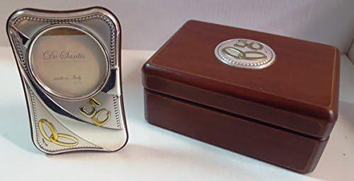 x 50/° cofanetto Bomboniera PORTAFOTO argento bilaminato ds664-50 nozze doro