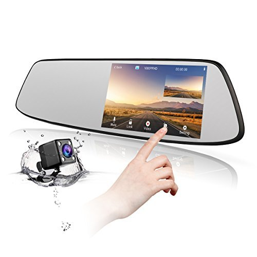 Backup Camera 4.3' Mirror Dash Cam 1080P TOGUARD Touch Screen Front and Rear Dual Lens Car Camera with Parking Assistance G-Sensor,Waterproof Rear View Revers Camera CN