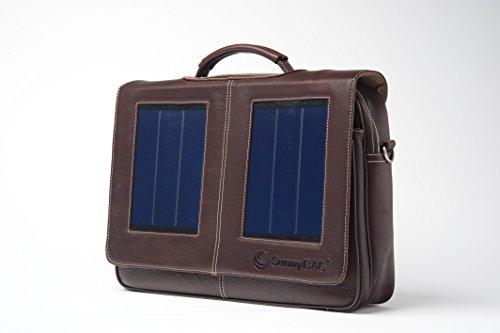 SunnyBAG Business Professional Solartasche mit 3 Watt Solarpanel für 15 Zoll Notebook, Businesstasche, Umhängetasche, Aktentasche, Notebook-Tasche, Laptop-Tasche aus Leder, braun Braun