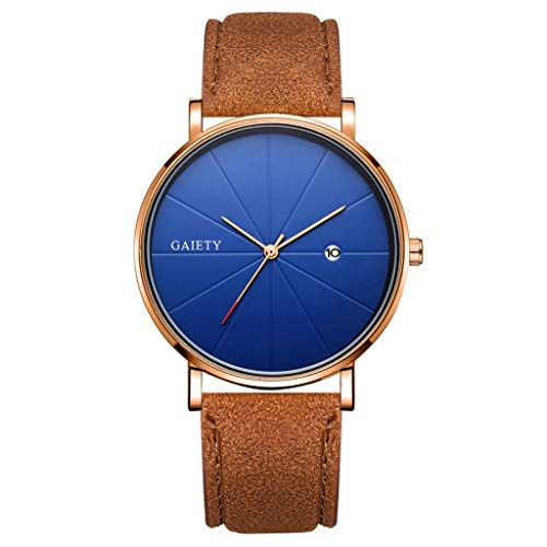 LUCAMORE Mens Thin Watches,Minimalist Leather Band Wrist Watch Casual Analog Quartz Business Watch with Date