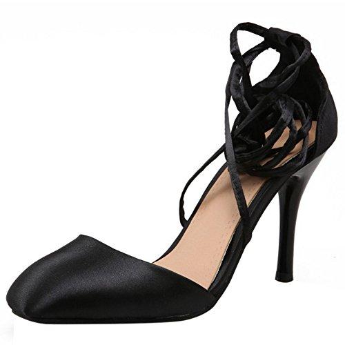 COOLCEPT Women Fashion Lace Up Sandals Closed Toe Stiletto Shoes Black