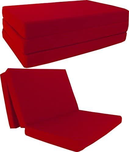 D D Futon Furniture Red Shikibuton Trifold Foam Beds 4 Thick X 60 Wide X 80 Long