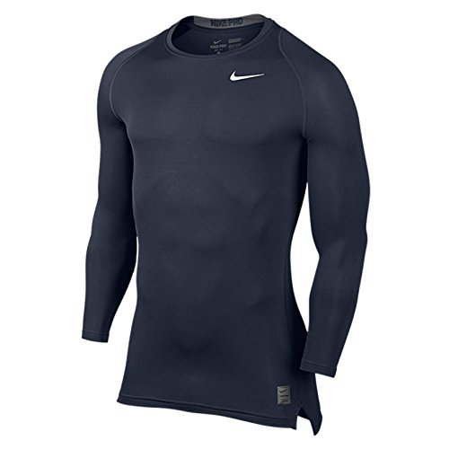 Nike Men's Pro Cool Compression L/S Obsidian/Dark Grey/White T-Shirt MD (Tee Pro Layering)