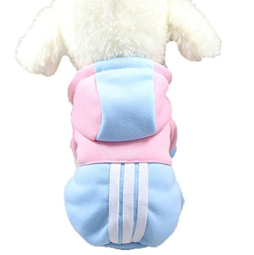 Mummumi Small Pet Dog Winter Clothes, Puppy Warm Autumn Sportswear Hoodies Outwear Cat Windproof Sweater T-shirt With a Hat For Small Dog Chihuahua,Yorkshire, Terrier, Poodle (S, Light Blue + Pink)