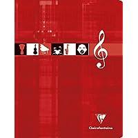 ClaireFontaine - Réf 63797AMZC - Cahier Piqué Musique et Chant 17x22 cm 56 Pages Grands Carreaux 90 g et Portées Coloris Aléatoire - Lot de 2