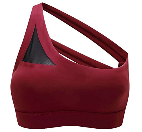(One Shoulder Sports Bra for Women,Racerback Gym,Yoga and Running Bra High Impact Sexy and Breathable Lady Sportswear Wine Red )