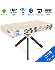 """JOEAIS Mini Projector, WiFi Android 7.1 DLP Video Pocket Cinema, 120"""" Picture Home Theater Projector BT4.0 Support 1080P HDMI USB with Rechargeable Battery, LED Life Up to 35000 Hours"""
