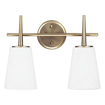 "Sea Gull Lighting 4440402-848 Driscoll Two-Light Bathroom Light or Wall Light With Cased Opal Etched Glass, Satin Bronze Finish - DIMENSIONS OF WALL LIGHTING: (width) 15 1/2'', (height) 12'', (extends) 7''; backplate dimensions - (diameter) 5'', (depth) 1'' VERSATILE WALL SCONCE LIGHTING: these bathroom lights are great for creating beautiful mood lighting as the glass shades may be mounted in the up or down position to creatively suit your lighting needs BATHROOM LIGHT FIXTURES WITH 6.5"" OF WIRE: conveniently install the wall light fixtures as soon as you receive them as they come complete with wires - bathroom-lights, bathroom-fixtures-hardware, bathroom - 41OG9j8JY3L. SS400  -"