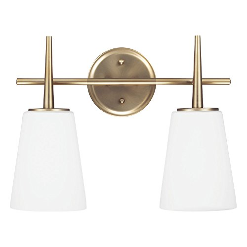 Sea Gull Lighting 4440402-848 Driscoll Two-Light Bathroom Light or Wall Light With Cased Opal Etched Glass, Satin Bronze Finish