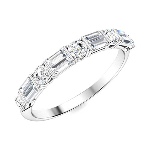 Diamondere Natural and Certified Round and Baguette Diamond Wedding Ring in 14K White Gold | 0.86 Carat Half Eternity Stackable Band for Women, US Size 6.5 Baguette Diamond Ring Setting