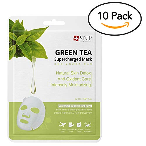 (SNP | Green Tea Supercharged Sheet Mask | Natural Soothing & Antioxidant Face Mask | 10 Sheet Pack)