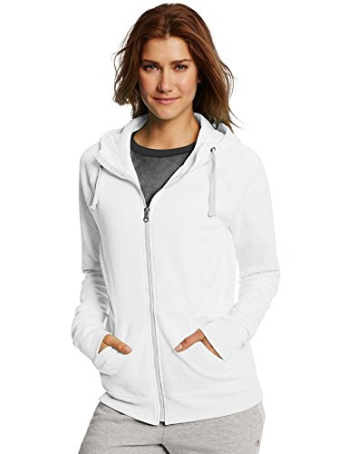 Champion Women's Fleece Full-Zip Hoodie, White, Small
