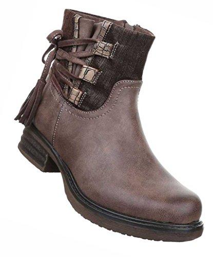 Damen Boots Schuhe Stiefeletten Mit Schnürung Schwarz Grau Braun 36 37 38 39 40 41 Braun