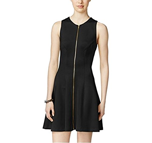 Bar III Zip-Front Fit Flare Scuba Dress, Black,Deep Black,Medium ()