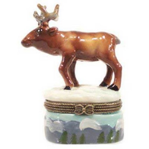 North American Bull Elk Porcelain Hinged Trinket Box phb (Phb Porcelain)
