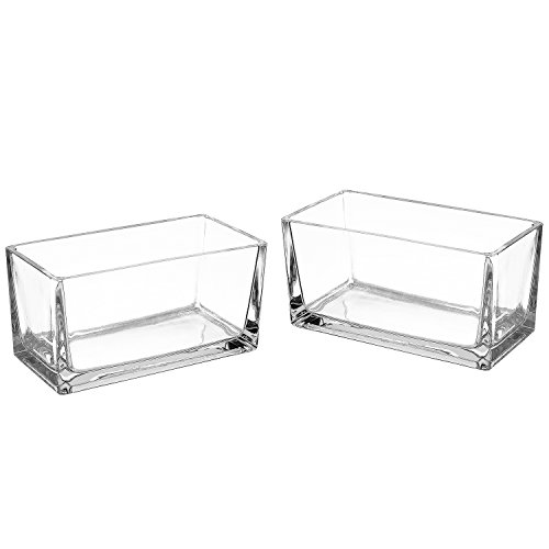 (7.5 Inch Modern Clear Glass Rectangle Block Vase, Centerpiece for Wedding, Set of 2)