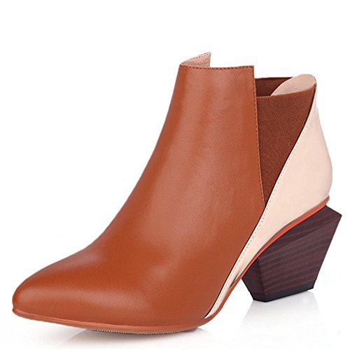 Handmade Seven Ankle Color Walking Toe Heels Boots Trendy Pointed Brown Heel Mid Nine Stacked Contrast Boots Women's qEdqC