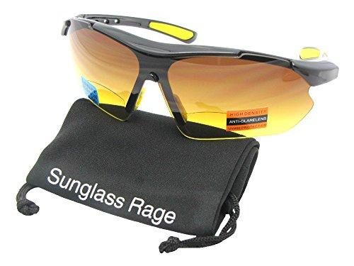 Style B35 HD Bifocal Sports Sunglasses With Sunglass Rage Pouch (Black Frame-Yellow Pads, 3.00) (Sunglasses Rimless Bifocal)