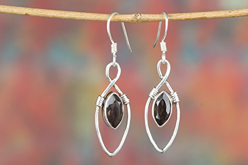 Faceted Smoky Quartz Earring, Bridal Gift, Gemstone Earring, Pure 925 Sterling Silver Earring, Birthstone Earring, Christmas Gift, Vintage Earring, Gypsy Earring, Boho Earring