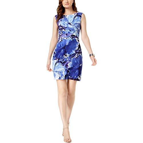 Connected Apparel Womens Printed Sleeveless Sheath Dress Blue 12