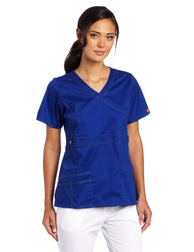 Dickies Scrubs Women's Gen Flex Junior Fit Contrast Stitch Mock Wrap Shirt, Galaxy Blue, Small from Dickies