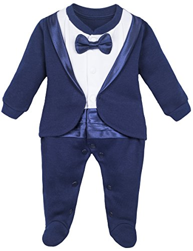 Lilax Baby Boy Gentleman Tuxedo Footie Christmas Holiday Outfit with Bow Tie