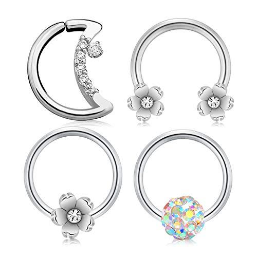 D.Bella 16G Moon Shape Daith Earrings Captive Bead Horseshoe Nose Septum Rings Piercing Cartilage Earring Hoop Helix Tragus Earrings Piercing Jewelry (Flower Septum Ring)