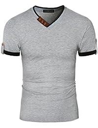 Mens Summer Casual V-Neck Button Cuffs Short Sleeve T-Shirts