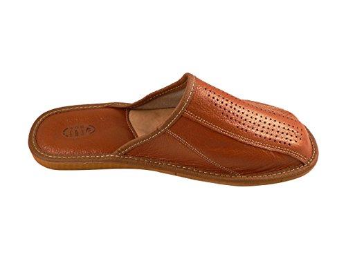 Auténtica piel de hombres zapatillas, chanclas, Mulas con suela anatómica o forro de lana. Varios colores marrón