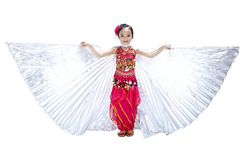 [Dance Fairy Children Belly Dance Isis Wings Costume,Silver] (Devil Girl Outfit)
