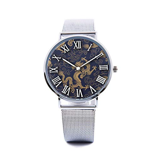 Unisex Fashion Watch Vintage Chinese Golden Dragon Auspicious Chinese Style Print Dial Quartz Stainless Steel Wrist Watch with Steel Strap Watchband for Women/Men 36mm&40mm Casual Watch