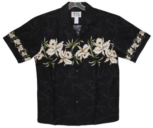Men's Island Orchid Hawaiian Aloha Shirt (L, Black)
