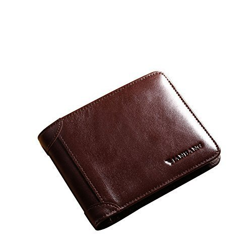 Genuine Cowhide (MANBANG Men's Genuine Cowhide Leather Extra Capacity Bifold Wallet Coffee)