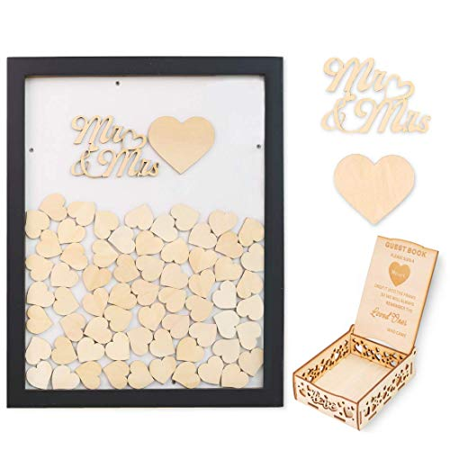 Creawoo Wooden Guest Book Frame Wedding Drop Box (Detachable Back) with 100 Blank Hearts and Free Guest Sign Box for Wedding Gifts Friends Present