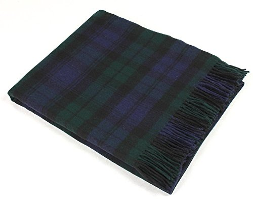Woven Kilt (Bronte Throw Blanket - Tartan Throw - Merino Lambswool (Black Watch))