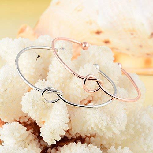 Ruarua Love Knot Bracelet for Women Bridesmaid Bracelets Cuff Bangle Girls 6 Pcs a Set (White)