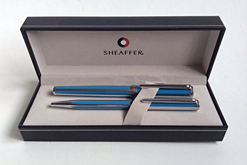 Sheaffer Intensity Cornflower Striped Fountain Pen & Ballpoint Pen (Best Sheaffer Pen Sets)