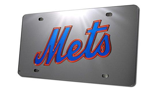 (New York Mets MLB Acrylic Laser Cut Black Mirrored License Plate)