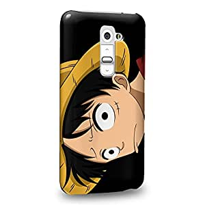 Case88 Premium Designs One Piece Luffy Protective Snap-on Hard Back Case Cover for LG G2
