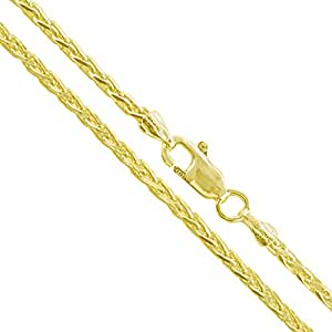 """22k Yellow Gold Plated Sterling Silver Diamond-Cut Wheat Chain 2mm Solid 925 Unique Spiga Necklace 18"""" (YG-2282-18)"""