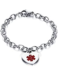 Free Custom Engraving-Stainless Steel Oval Link Chain Heart ID Tag Medical Alert Bracelets for Women, 8.26 Inches