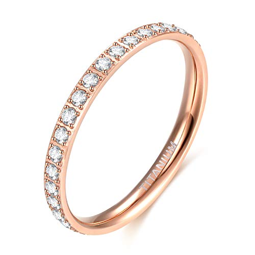 - TIGRADE 2mm Women Titanium Eternity Ring Cubic Zirconia Anniversary Wedding Engagement Band Size 10 (Rose Gold)