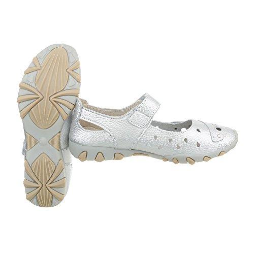 Zeppa col Design zeppa Scarpe Scarpe da 2621 tacco donna Silber Ital wUUqY6t