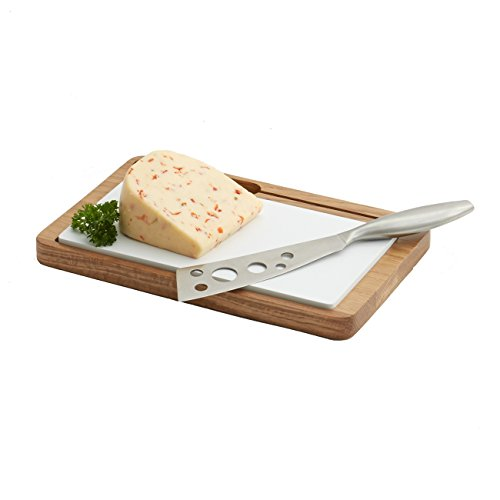 Woodard & Charles Oak Cheese Board with Ceramic and Knife, (Charles Cheese Knife)