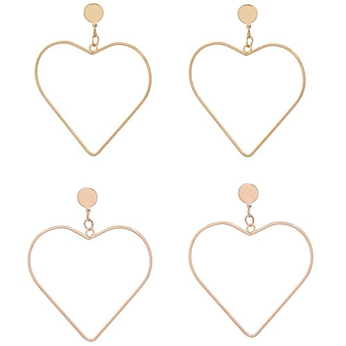 Latest Earrings Style New Fashion (Lady Hoop Earrings Boho Simple Hip-Hop Style Chic Heart Design Dangle Earrings For Women Gold Cheap Extra Large Lightweight Aesthetic Clip On Cartilage NEW-EC)