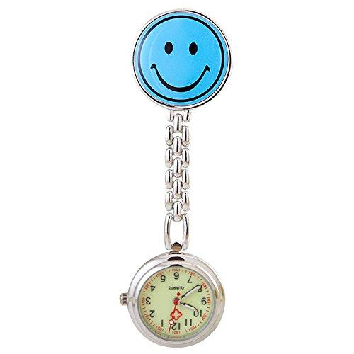 Collection&Joy Schwesternuhr Smiley rot mit Clip 1 Stück Krankenschwesteruhr Krankenschwesternuhr Schwesternuhren Damenuhr Herrenuhr mit Clip (Blau, Smiley)