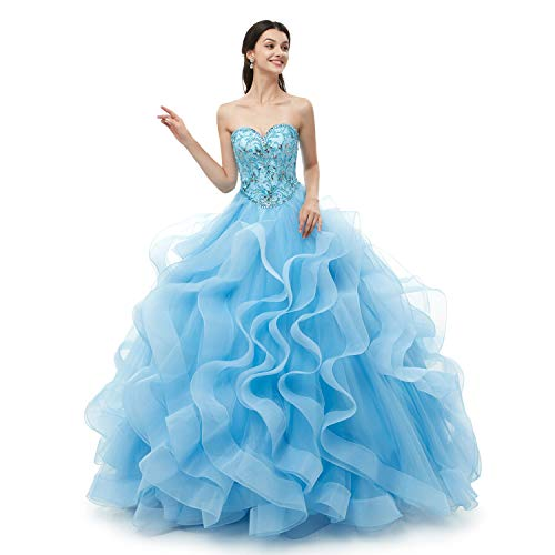 - Leyidress Quinceanera Dress Blue Prom Dresses Strapless Ball Gown Party Dress for Women 4