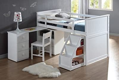 Wyatt white finish wood twin size loft bed with pull out desk work station underneath and slide out stairs with storage
