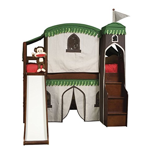 Bolton Furniture 9921P00LT6TR Mission Low Loft Treehouse Bed with Tower, Top Tent, Bottom Playhouse Curtain and Slide, (Tent For Youth Bed)