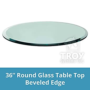 Round Glass Table Top Custom Annealed Clear Tempered Thick Glass With  Beveled Polished Edge For Dining